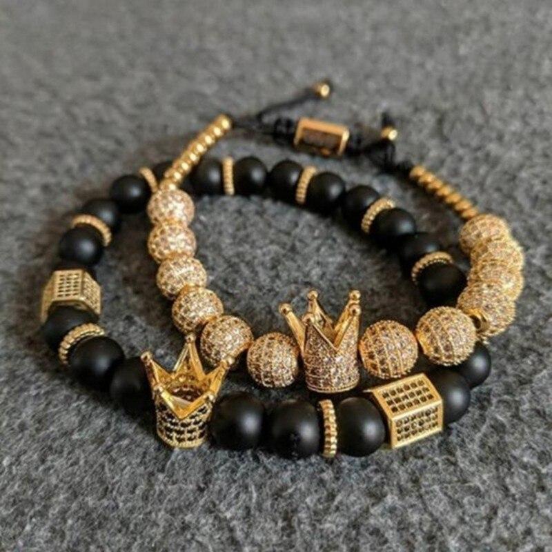 2 unids/set corona de oro pulseras 8 MM cúbicos Micro Pave CZ bola trenzado hombre negro mate de lujo piedra joyería Pulseira bileklik