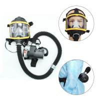 Protective Mask Set Electric Constant Flow Supplied Air Fed Full Face Gas Mask Respirator System Workplace Safety Supplies New
