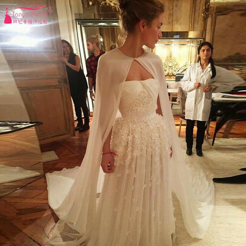 Long Chiffon One Layer Wedding Cape simple elegant Gelinlik Bridal Jacket without sleeve Cheap Boleros 2m