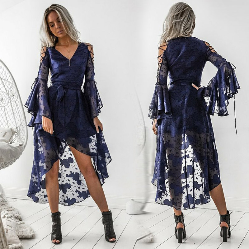 Navy Blue Elegant   Cocktail     Dresses   2019 A Line V Neck Long Flare Sleeve High Low Lace Formal Party Gowns Vestidos Coctel Mujer