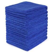 10 pièces bleu voiture doux microfibre serviette de nettoyage absorbant chiffon de lavage carré pour maison cuisine salle de bain serviettes Auto Care 30x30cm