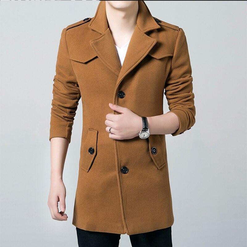 Winter 2019 Hot Sale Men Windbreaker Men's   Trench   Coat Men Long section Casual Jacket Brand Clothing Men's Jackets XXXL Size