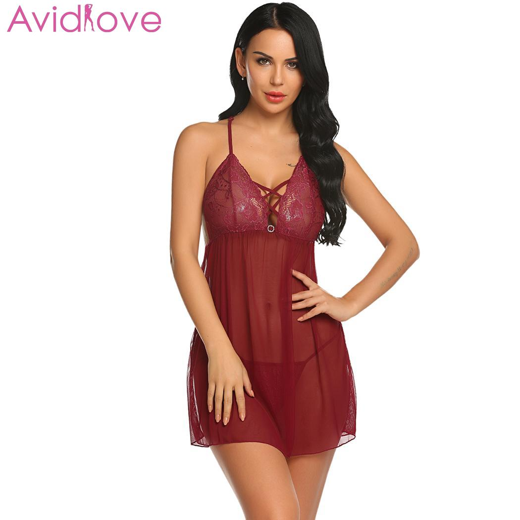 Avidlove Plus Size Women Sexy Lingerie Lace Babydoll Chemise Porno Sex Underwear Dress Transparent V Neck Hot Erotic Lingerie|Babydolls & Chemises| | - AliExpress