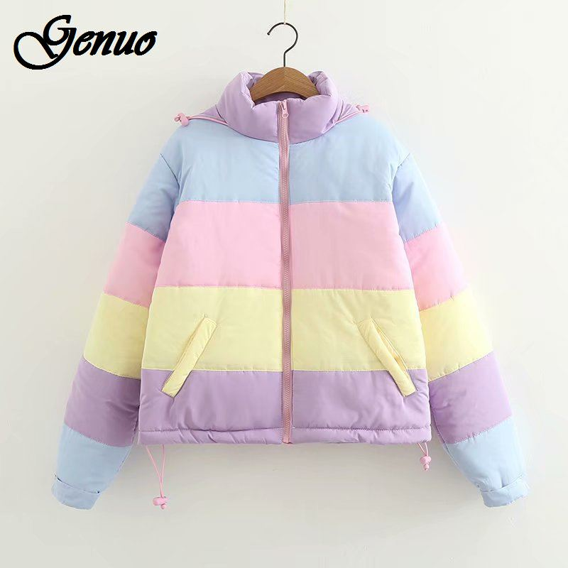 2019 Rainbow colorful Cotton Padded   Parkas   Women Autumn Winter Detachable hat Coat Macaron Pastel Panel Puffer Jacket Coats