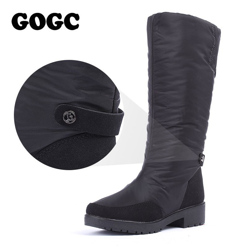 GOGC Winter Boots Women 2019 autumn winter woman High Boots Waterproof Brand Women Shoes Warmful Winter Shoes Women Flat 9893 image