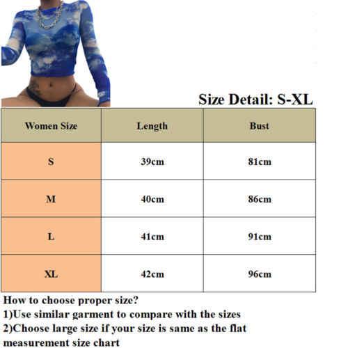 섹시한 여성 See-through Sheer Mesh 긴 소매 티셔츠 여성 티셔츠 프린트 탑