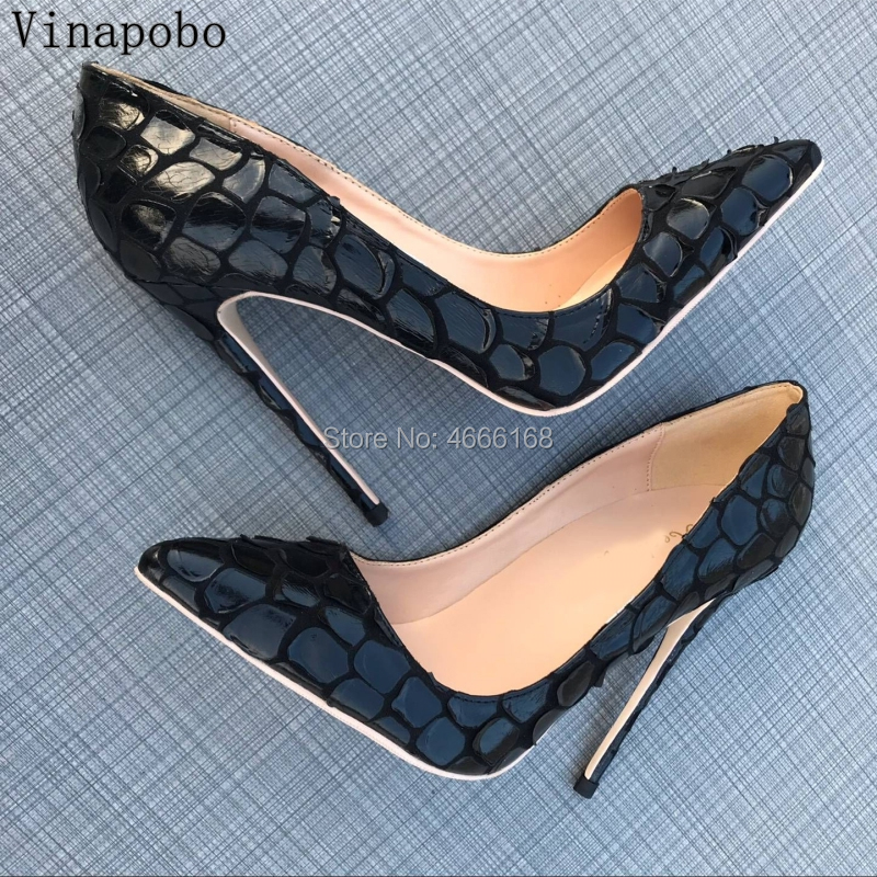 Vinapobo Classic Brand Women Pumps Pointed Toes Dress Shoes Designers Black Snake Skin Printed High Wedding