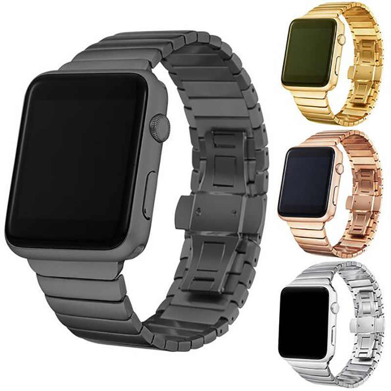 Pulsera de eslabones de acero inoxidable de lujo para apple watch Series 5 4 3 1 2 iwatch 44mm 40mm 38mm correa de acero 42mm con adaptadores