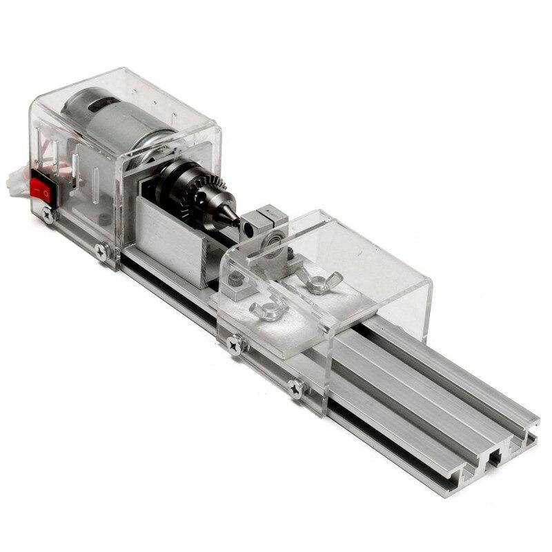 Nowy LB-01 Mini tokarka koraliki maszyna do obróbki drewna DIY tokarka polerowanie wiertarka obrotowa narzędzie zasilanie DC 24V z zestaw akcesoriów