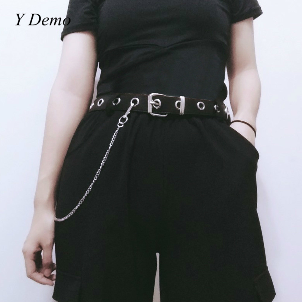 Gothic Black Chain Belt Circle Hollow Out Punk Unisex Couple Adjustable Belt