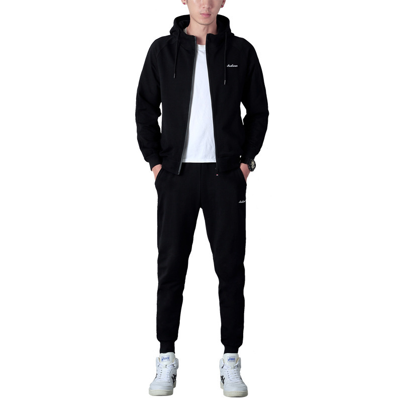 Automne hommes ensembles mode noir survêtement ensemble à capuche zipper sweat + faisceau pied pantalons de survêtement + chaud gilet vêtements de sport décontractés Outwear