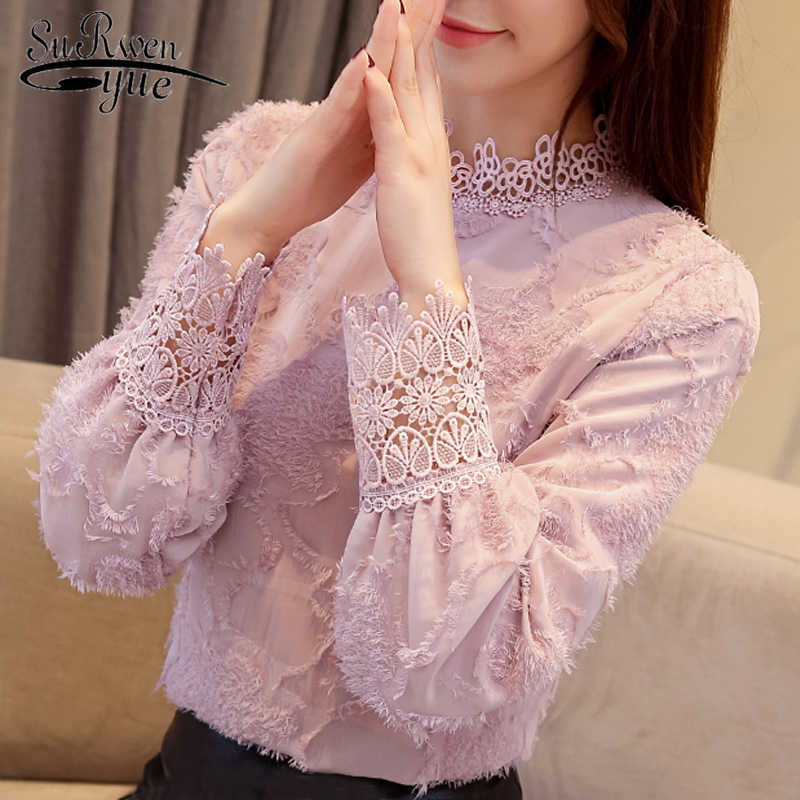 fashion woman blouses 2019 lace chiffon blouse shirt plus size women tops long sleeve clothes blouse wome shirts blusas 1667 50