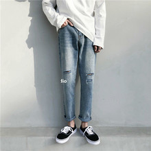2019 Korean Style Men's Stretch Casual Pants Classic Skinny Holes Slim Fit Wash Jeans men Black/blue Color Biker Denim Trousers цена