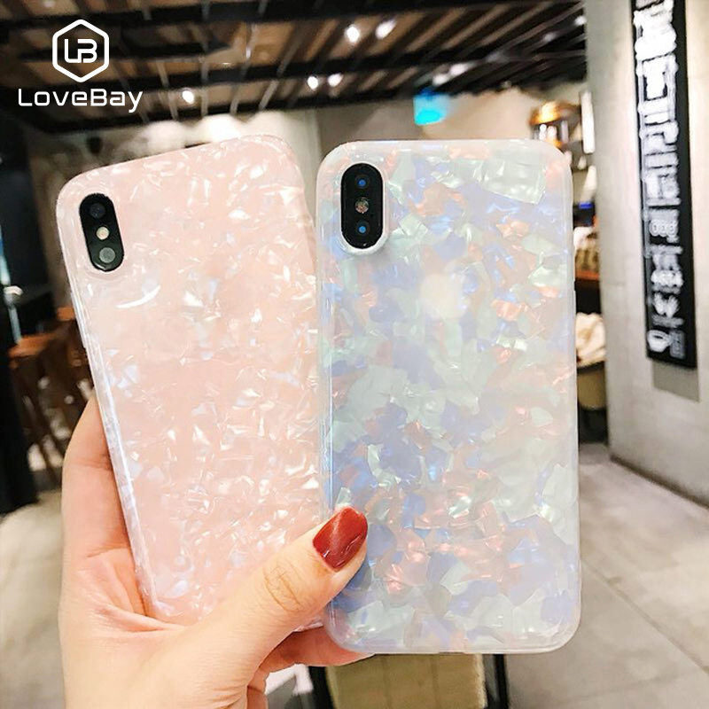 Lovebay Phone Case For iPhone X XR XS Max 8 7 6 6s Plus Retro Colorful Gradient Conch Shell Soft IMD Back Cover Cases Coque Capa iPhone