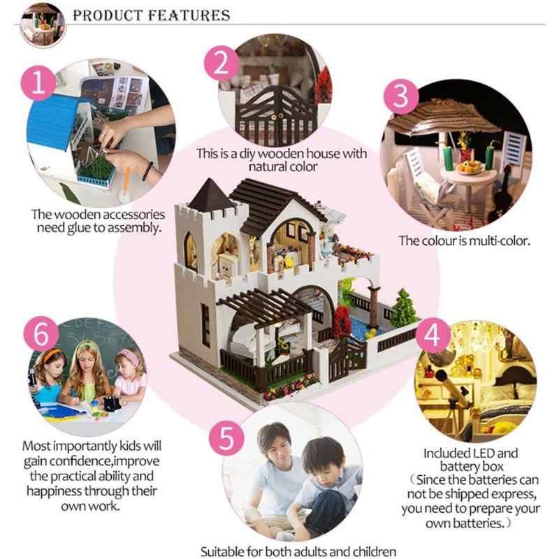 Dreamlike замок сборки модель здания игрушка деревянный кукольный дом Миниатюрный DIY кукольный домик мебельный набор ручной работы Свадебный декор