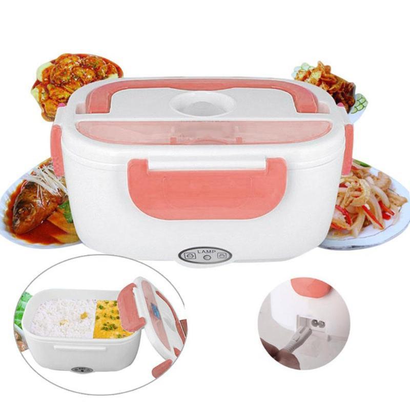 Elektrische Heizung Lunch Box mit Löffel Lebensmittel Container Auto Auto Lebensmittel Reis Container Wärmer Für Schule Büro Hause Geschirr