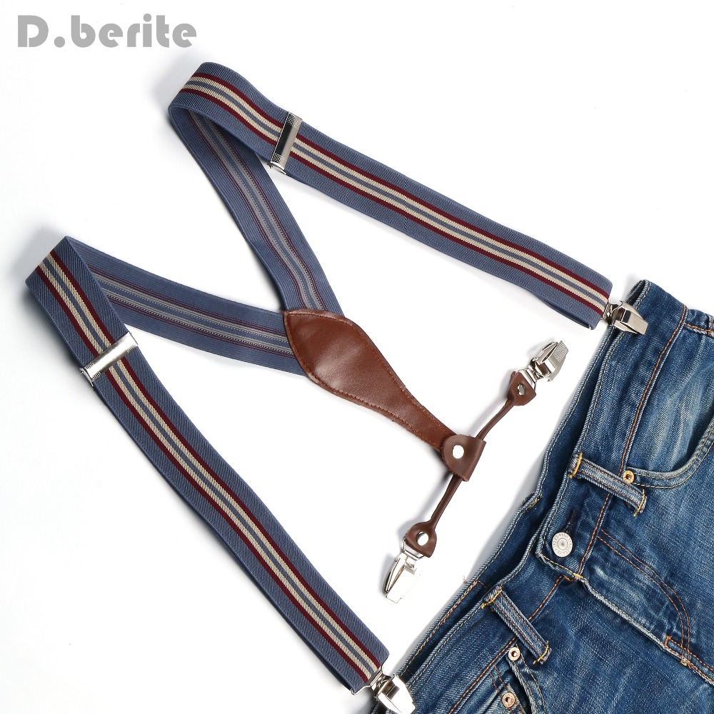 Men's Suspenders Women's Braces Adult Unisex Adjustable Clip-on Elastic Belt Strap Gray Beige Stripes Adult Gallus BD609