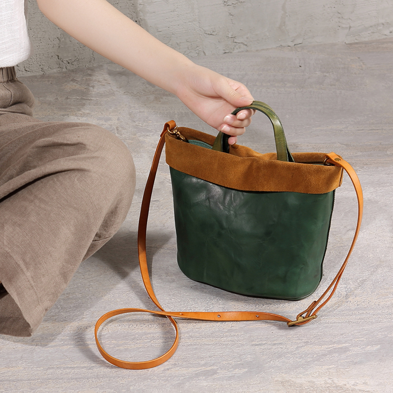 Crossbody tote bags ladies genuine leather handbag womens small shoulder messenger bag female top-handle bag Bucket Shape new Crossbody tote bags ladies genuine leather handbag womens small shoulder messenger bag female top-handle bag Bucket Shape new