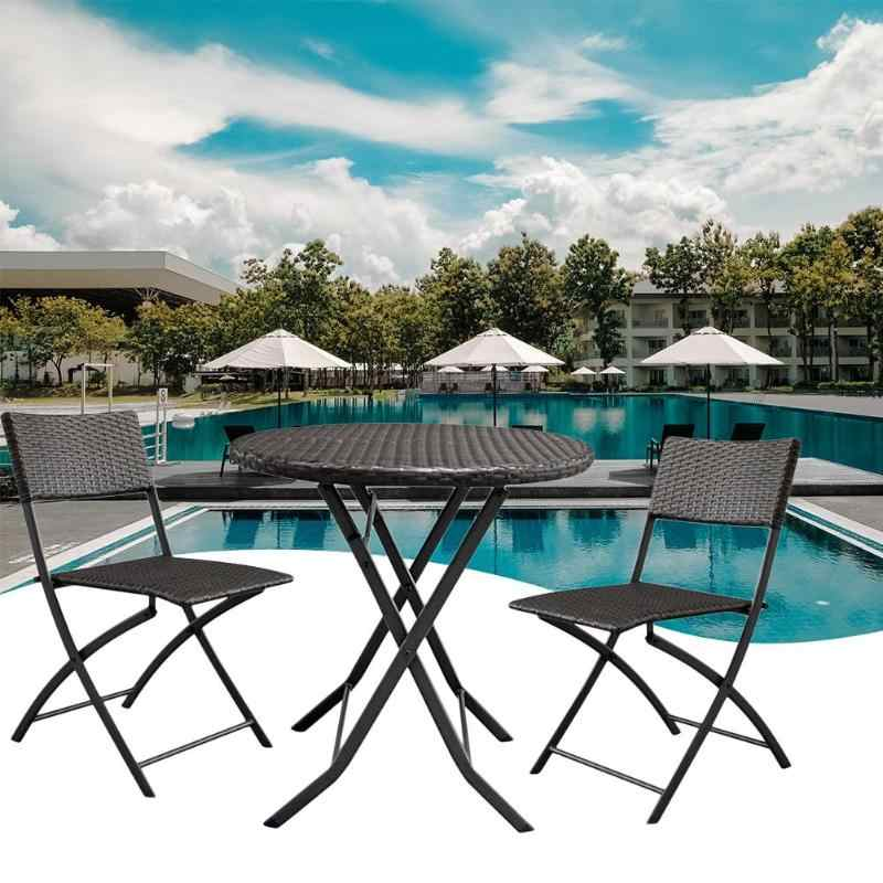 3pcs/set Foldable Cafe Furniture Kit Brown Gradient Rattan Outdoor Garden 1 Coffee Table + 2 Chairs