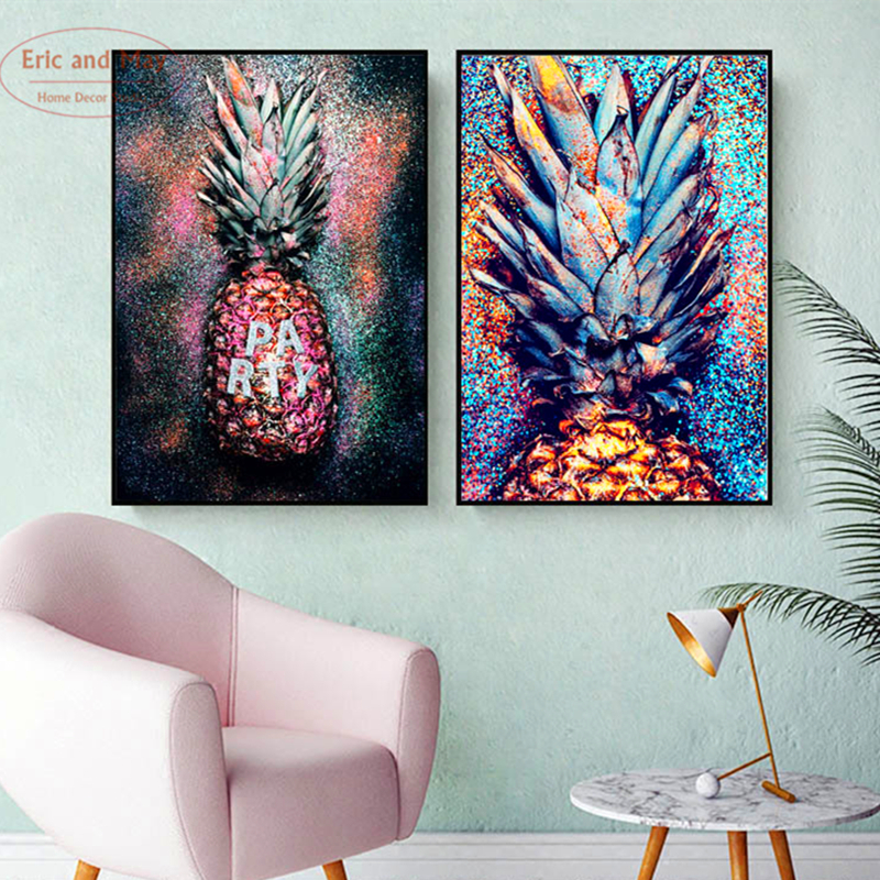 Colorful Abstract Painting Pineapple Wall Decor Nordic Decoration Home Lucky Art Three Pieces Posters And Prints Unframed
