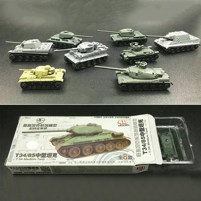 8pcs Set Plastic 4D Assembled Tank Model 1:144 Thumb Tank Military Model Toy  Military Tank Toy Christmas Gift