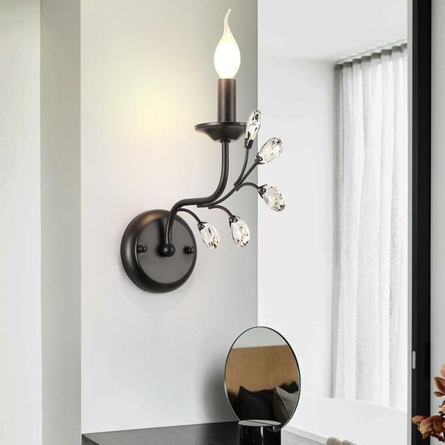 Home Decoration Crystal Wall Lamp Light Retro Led Wall Sconce Bedside Wall Fixture Bedroom Bathroom Aisle Cafe Bar hotel fixture