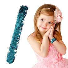 Wristband Sequin Slap Bracelets Glitter Headband Hair accessories for Kids Party Favors Novolty Colorful birthday Gift 8 Colors(China)