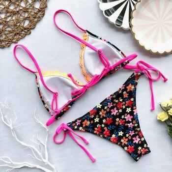 Flower Swimsuit Women Bikini Sexy Swimwear 2019 Summer New Bandage Women Bathing Suit Push Up Padded Biquini Monokini Beachwear 8
