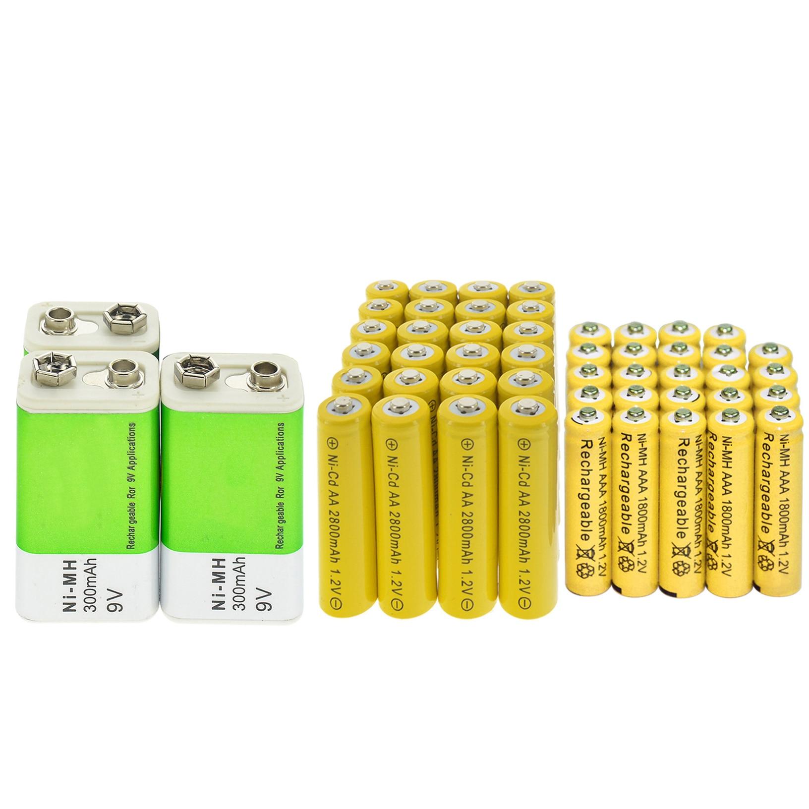 9v 300mAh+AA Ni-Cd 2800mAh+AAA NI-MH 1800mAh 1.2V Rechargeable Battery yellow