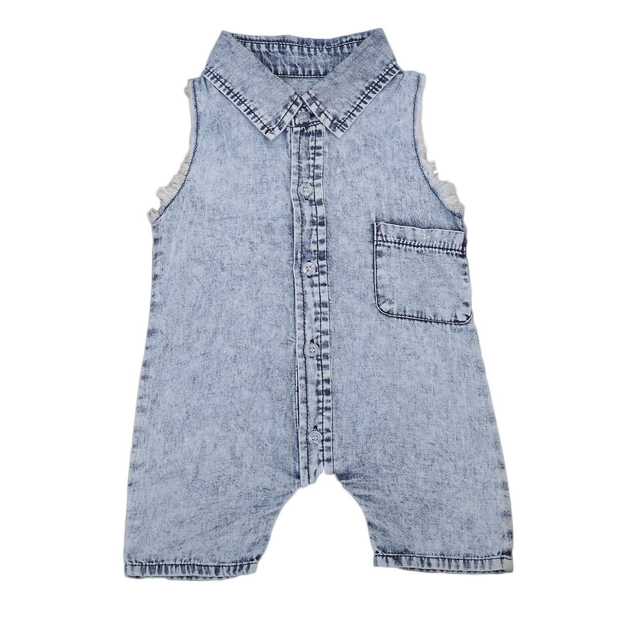 Pudcoco Baby Boys Denim Rompers With Turn Down Collar Tank Romper Overall Sleeveless Pocket
