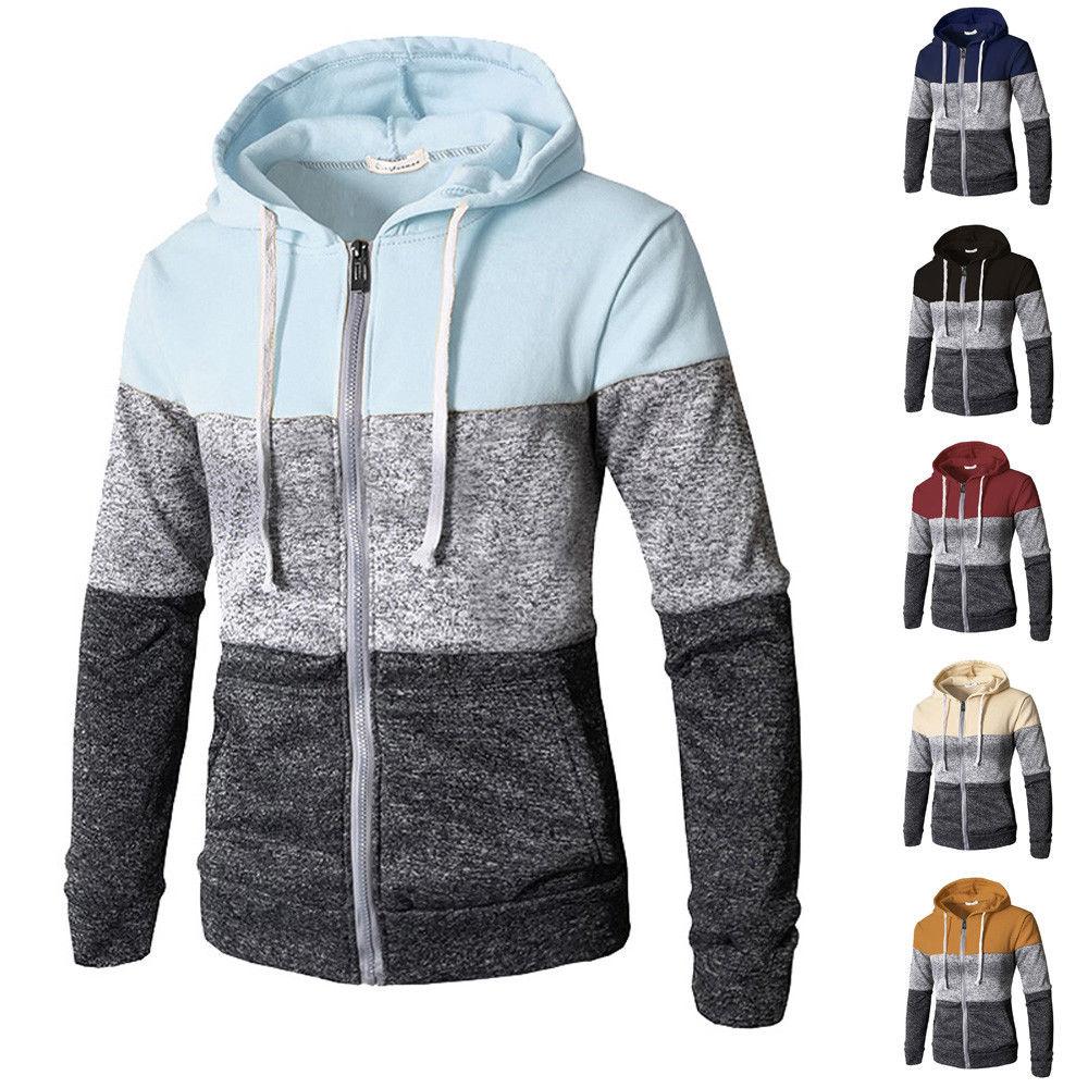 2019 Mais Novo Dos Homens Zip Up Casual Elastic Camisola Tops Brasão Jacket Outwear Camisola Homens Basculador Zíper Outono Inverno Com Capuz Sweatercoat