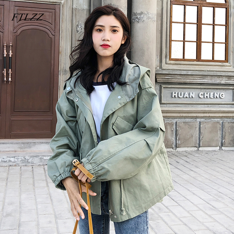 FTLZZ New Loose   Trench   Coat Spring Autumn Women's Hooded Black Green Windbreaker Outerwear Female Casual   Trench   Coat