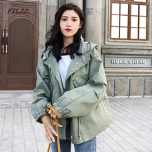 FTLZZ New Loose Trench Coat Spring Autumn Women's Hooded Black Green Windbreaker