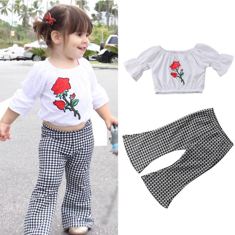 Toddler Infant Kid Baby Girl Ruffled Tops+Flared Pants Bell Bottom Outfits Sets girl
