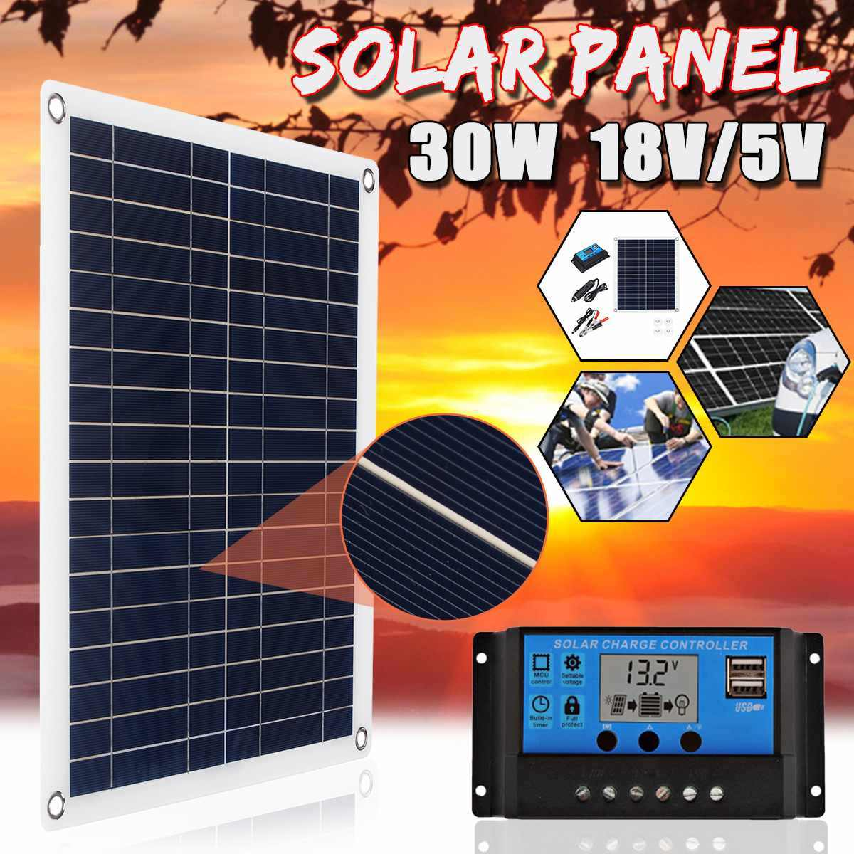 30W 18V Solar Panel Polycrystalline USB interface Car Ship Outdoor Camping Emergency Phone Charger w/Solar Charger Controller