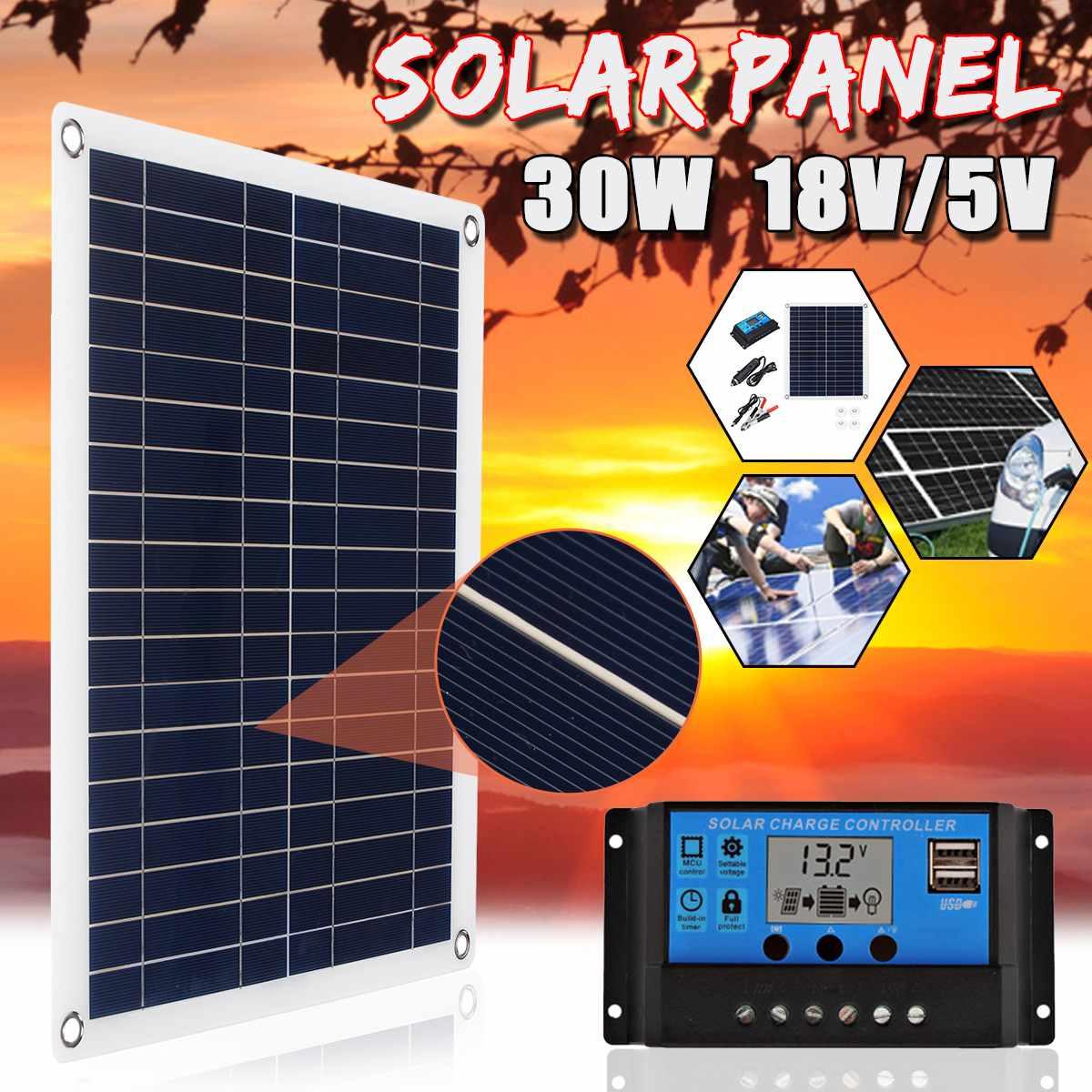 30 W 18 V panneau solaire polycristallin USB interface voiture bateau Camping en plein air chargeur de téléphone d'urgence avec contrôleur de chargeur solaire