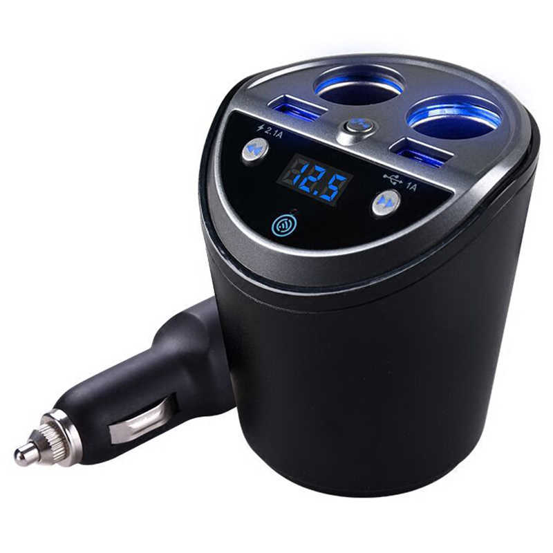 Bluetooth Wireless Car Fm Transmitter Mp3 Player Cup Holder Handsfree Car Kit Fm Radio Dual Usb Car Cigarette Lighter Port