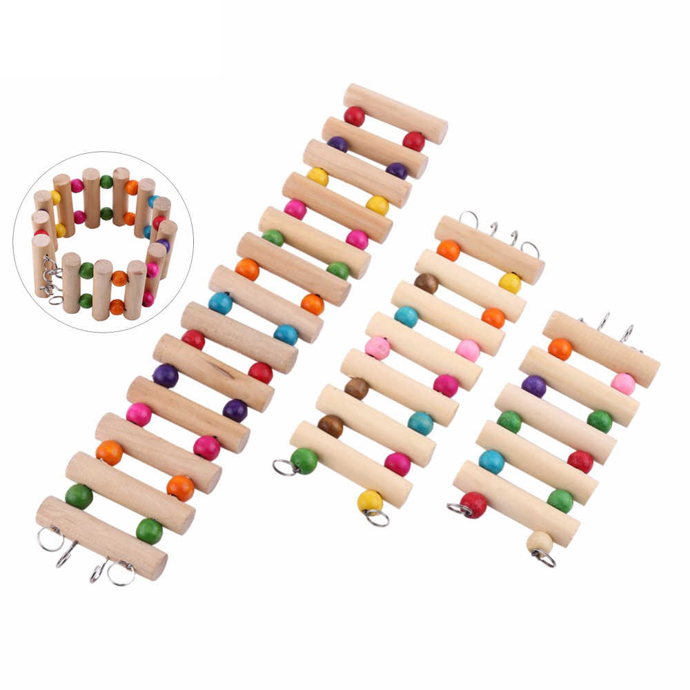 Birds Toy Wooden Ladders Swing Scratcher Perch Climbing S M L Size Ladder Bird Cage Hamsters Parrot Toys for Pet Supplies