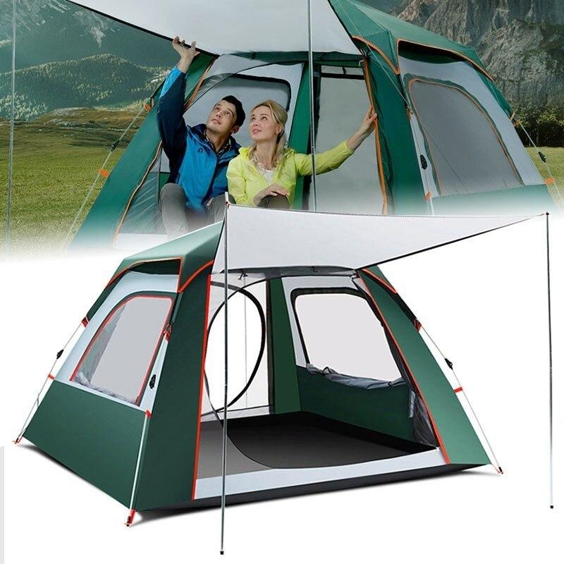 Camping professionnel tentes hydraulique automatique coupe-vent imperméable Double couche rapide ouvert randonnée pour voyage 3-4 personne tente