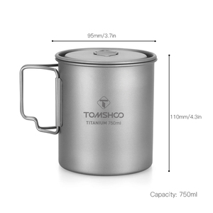 Image 5 - Tomshoo 750Ml Titanium Pot Titanium Water Mok Cup Met Deksel En Opvouwbaar Handvat Outdoor Camping Pot Koken Potten Picknick hang Pot
