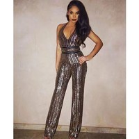 Sexy Women Halter Deep V Neck Sequin Jumpsuit Spaghetti Straps Backless Jumpsuit Sequined Sleeveless Slim Overalls