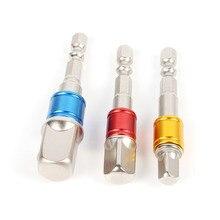 3pcs 1/4 3/8 1/2 Hex Shank Set Converter Socket Adapter Steel Bit Quick Change  Extension Power Tools