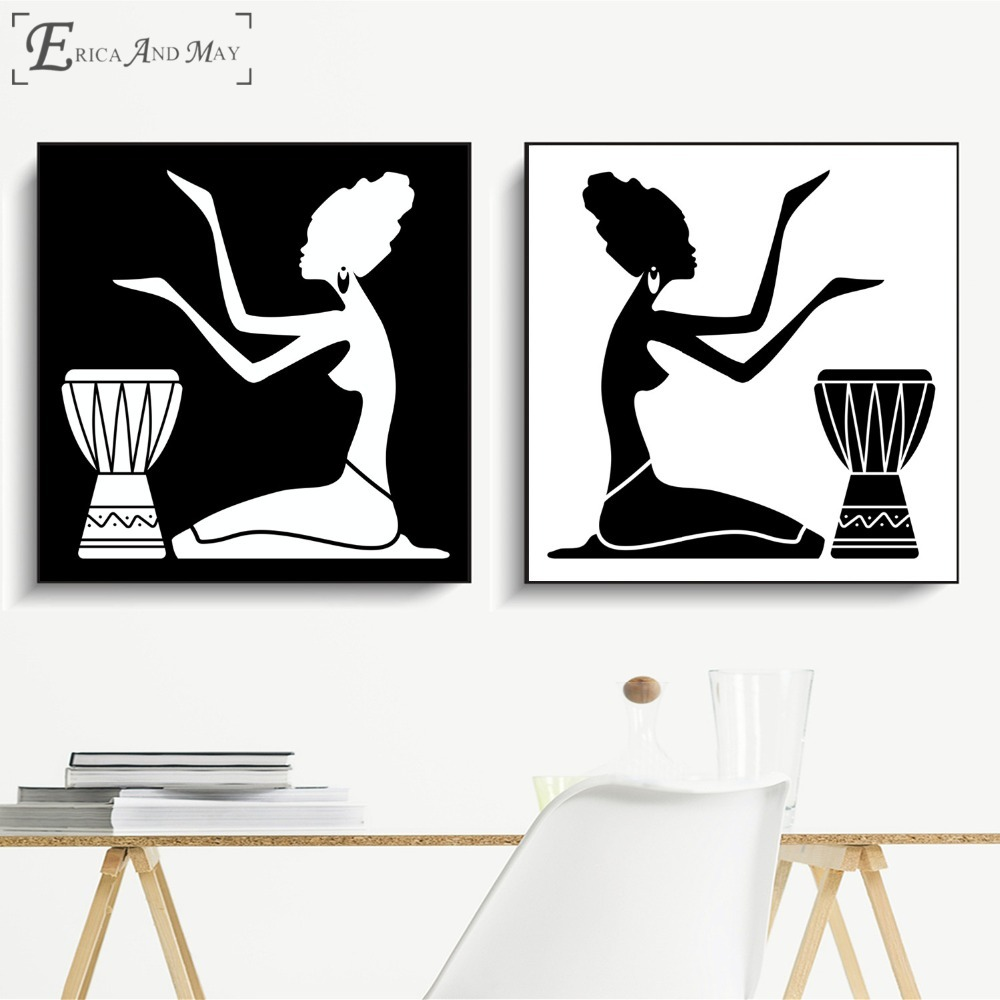 African Women Silhouette Vintage Poster Prints Oil Painting On Canvas Wall Art Murals Pictures For Living Room Decoration