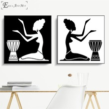 Silueta de mujeres africanas, póster Vintage, impresiones, pintura al óleo sobre lienzo, murales artísticos para pared, fotos para decoración de sala de estar