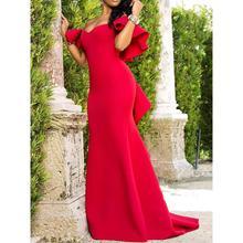 ddd9cdc83 حزب فستان طويل 2019 الأحمر مثير الكشكشة قبالة الكتف النساء ماكسي رداء مساء  عشاء ثوب أنيقة الأفريقي الإناث الصيف فساتين