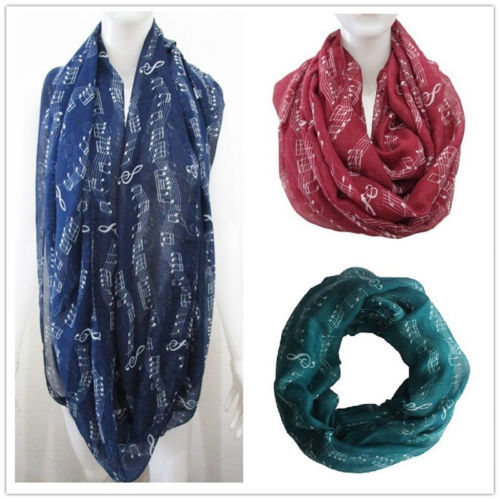 Fashion Womens Music Note Pretty Scarves Wraps Long Soft Cotton Chiffon Scarf Wrap Shawl Stole Scarves Rings Pashmina 180x95cm