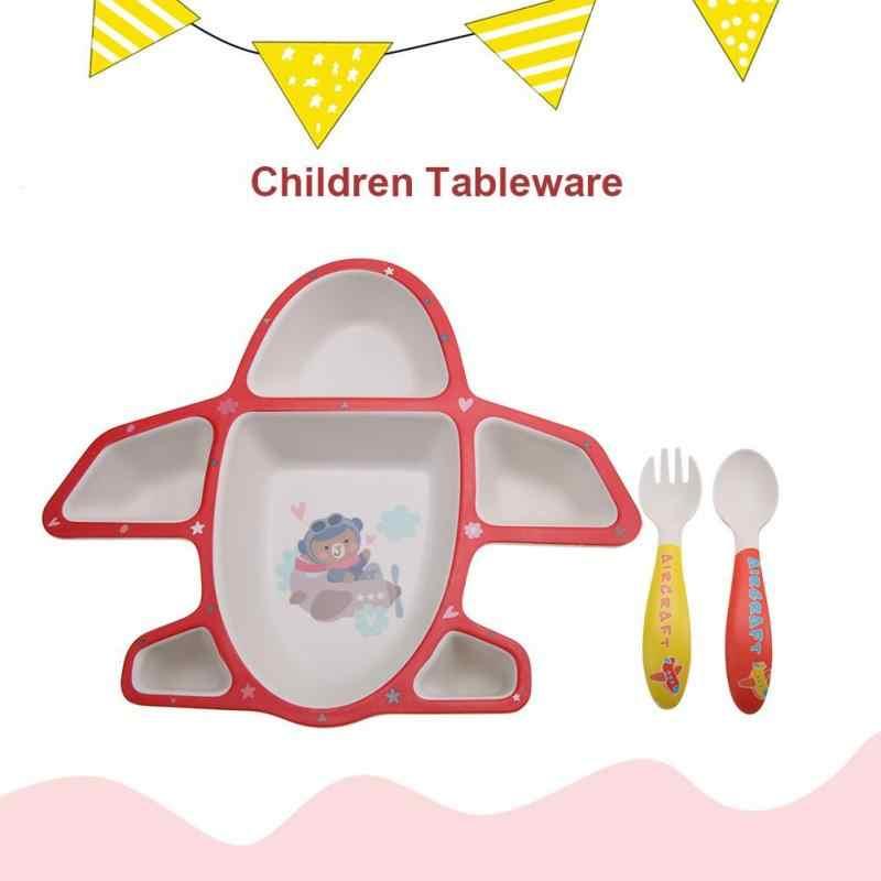 3 ชิ้นเด็กชุดเด็กจานชามส้อมช้อนถ้วยชุดไม้ไผ่เส้นใย Feedkid อาหารเย็นสำหรับเด็กแยกแผ่น