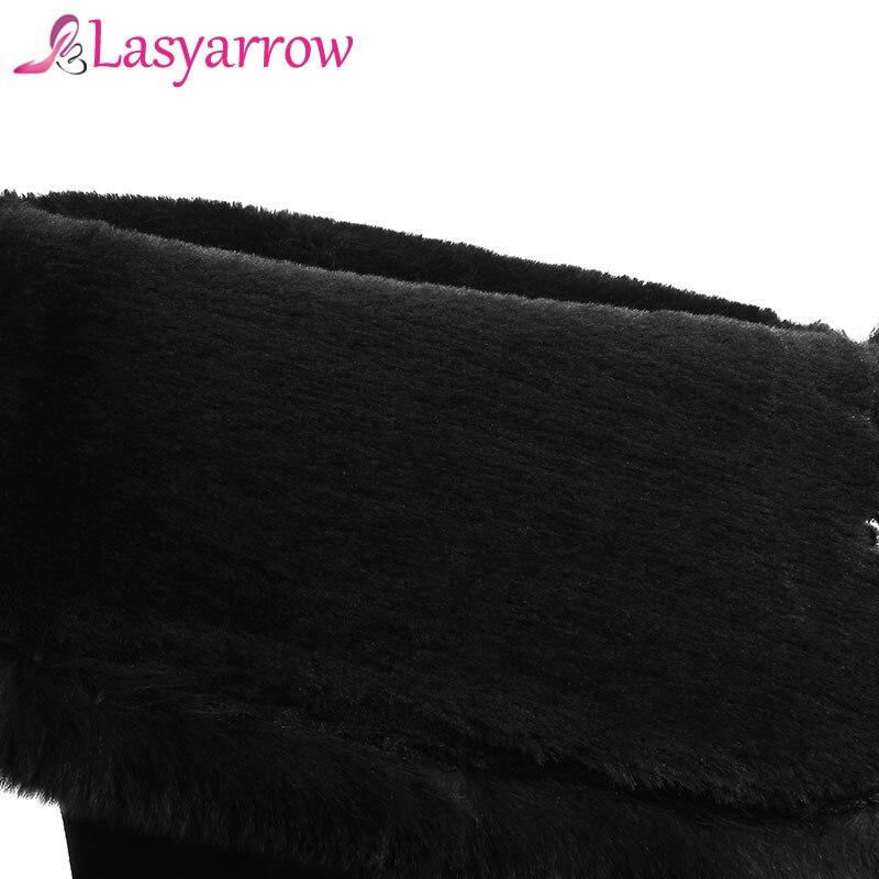 Talons Plat Bottes Cuisse Black Lasyarrow Suede Sur Le D'hiver leather Genou Haute Chaud Neige Longues Bloc Étanche Véritable En De Cuir Black ZuXPkiTO