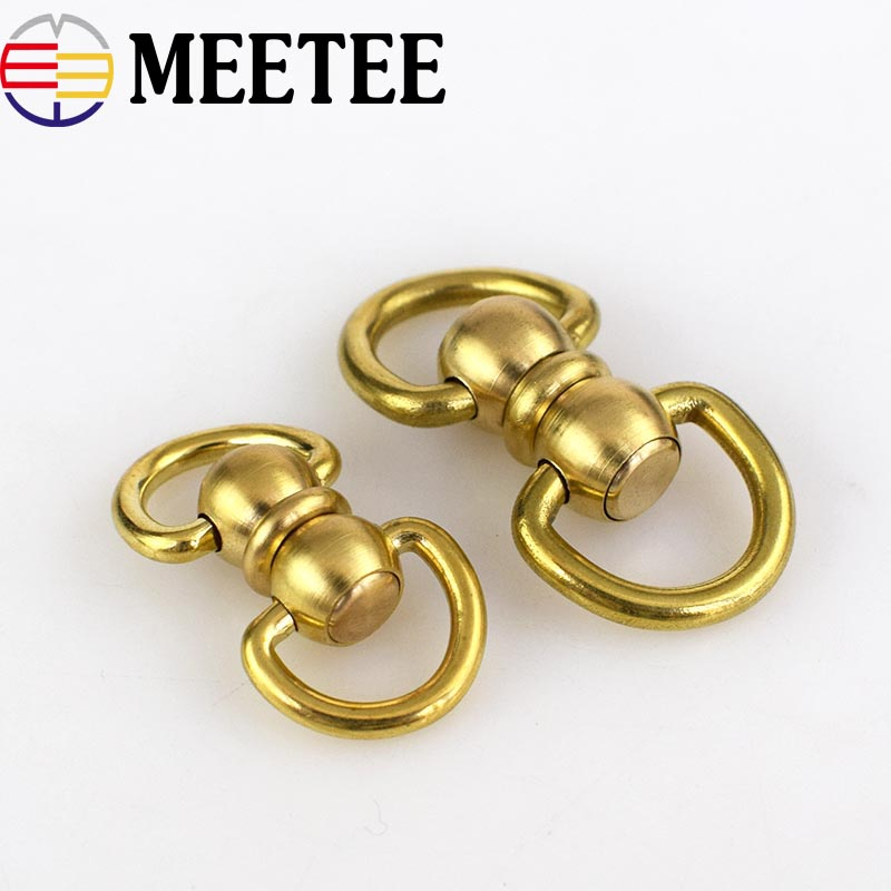 1Pack Solid Brass Rotated Double D Swivel Ring Chain Wallet Key Chain Connector Metal Buckle Snap Hook DIY Leather Crafts