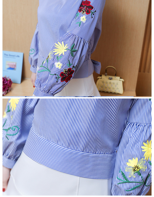 Embroidered women shirt bow striped Long sleeves blouses  4